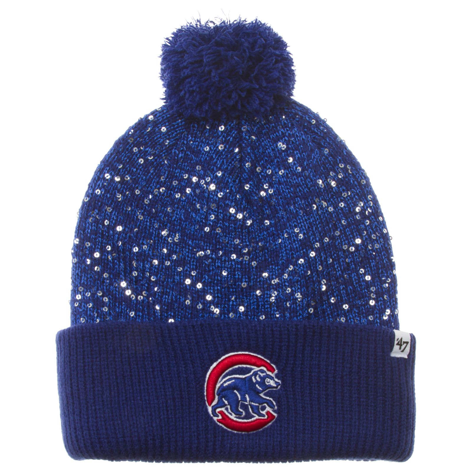 1e0c91eb346e52 Chicago Cubs Royal Glitter Crown Crawl Bear Cuff Knit Pom by '47 #Chicago # Cubs #ChicagoCubs