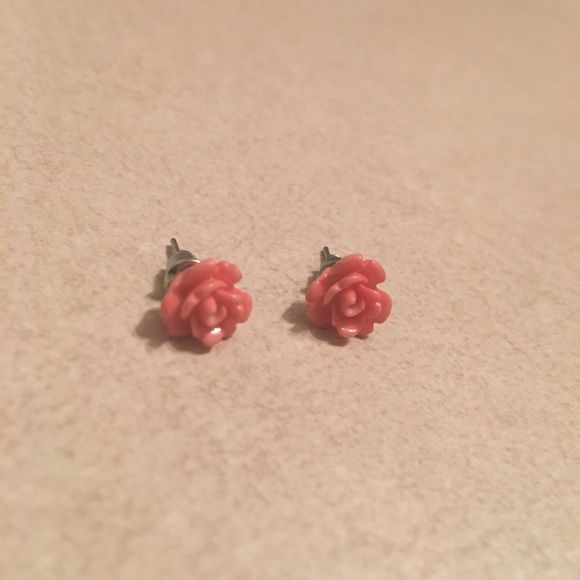 Rose Earrings Pretty pink rose earrings. Never worn. Jewelry Earrings