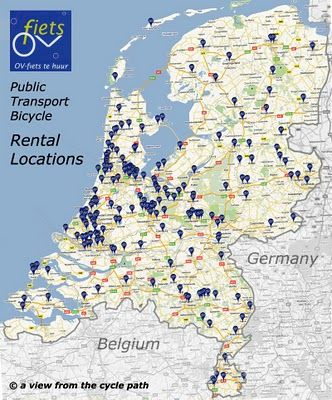 Map of the Netherlands\' Bike Sharing System | Cycle Facility ...