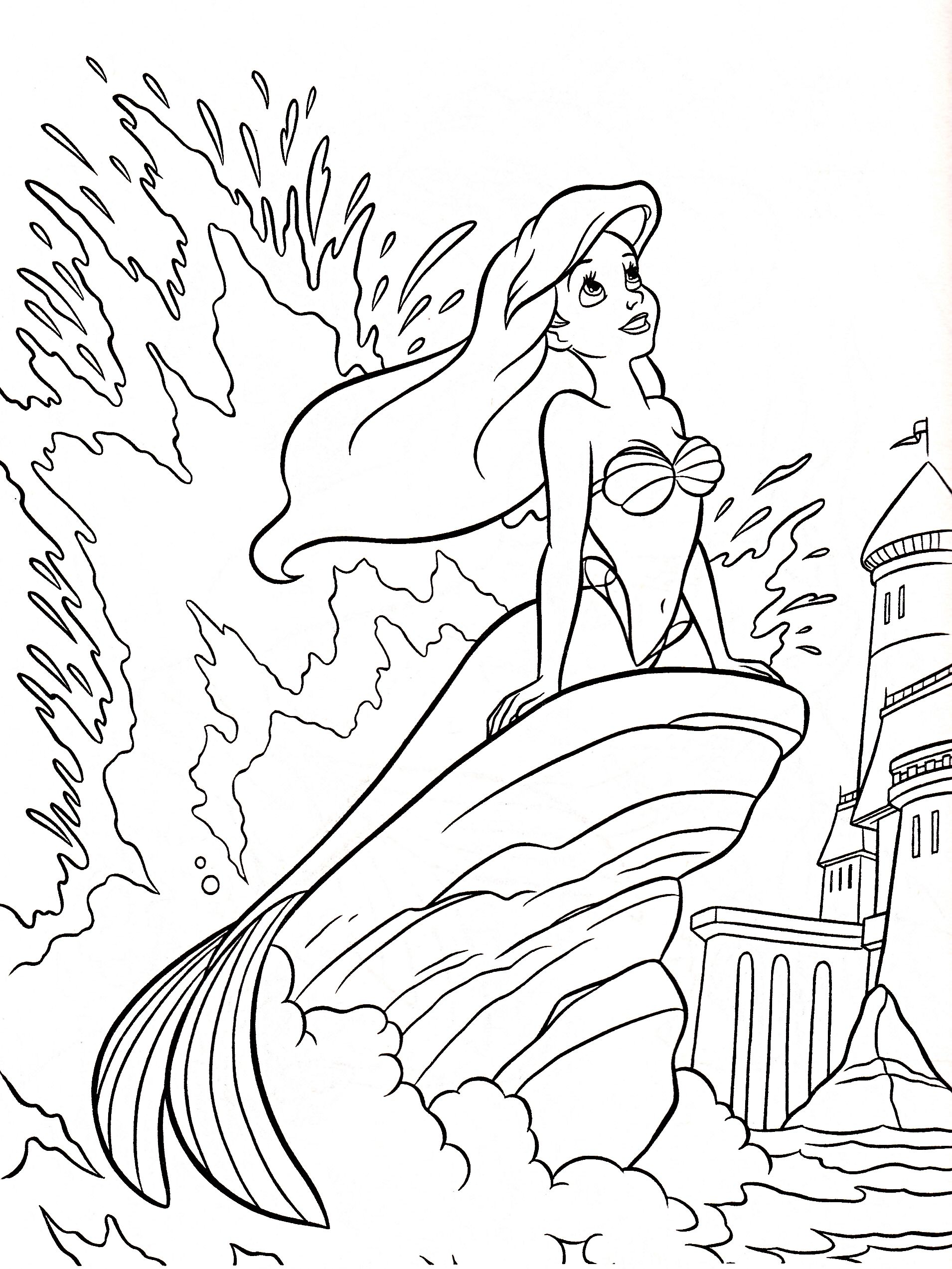 Disney princess coloring book for adults - A Is For Ariel Color Page Ariel Coloring Page The Little Mermaid
