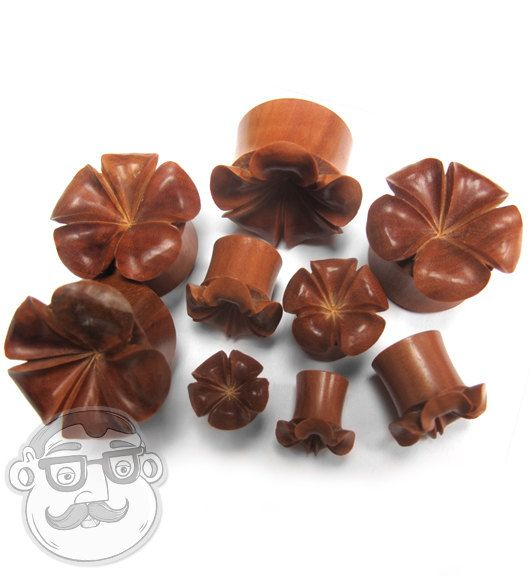Hawaiian Flower Wood Plugs Sizes / Gauges 2G by UrbanBodyJewelry
