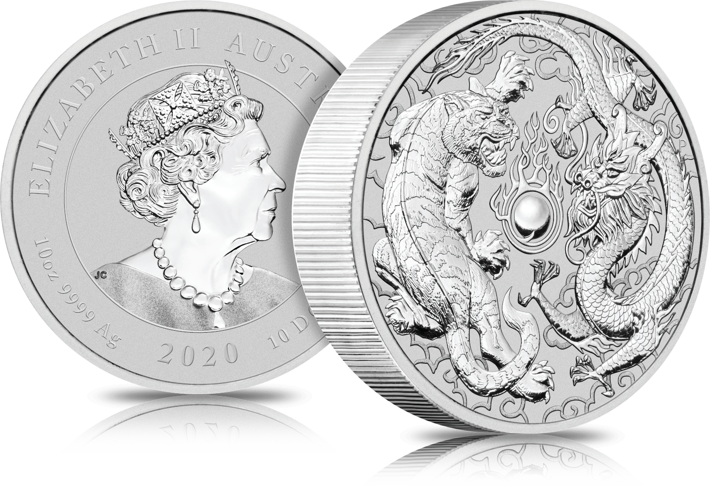 2020 10 Oz Australia Dragon Tiger 9999 Silver Bu Coin In 2020 Dragon Antique Coins Silver Dragon