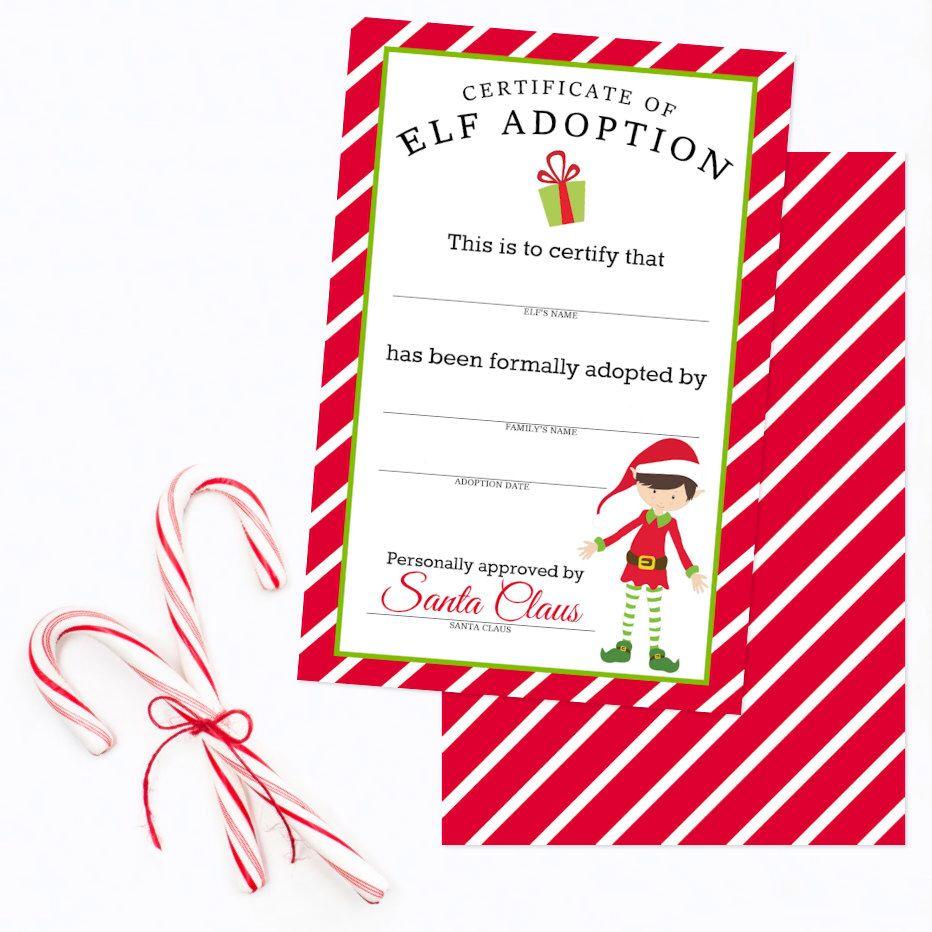 Christmas elf adoption certificate boy elf card elf on for Elf adoption certificate template
