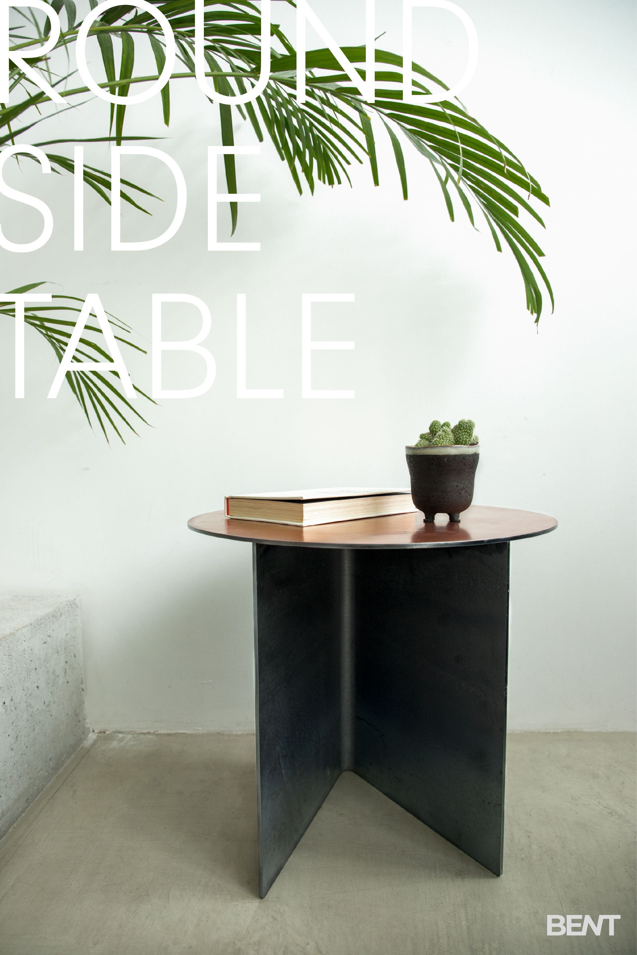 Photo of Painted Steel Round Side Table, Metal End Table