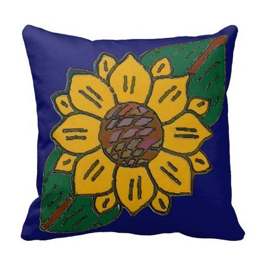 Mexican Tile Sunflower Blue Pillow