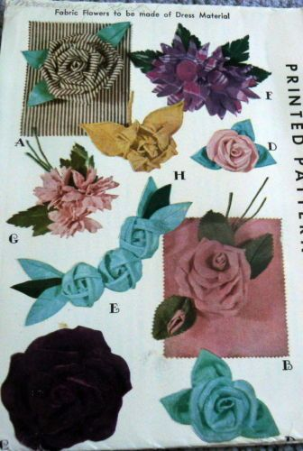 Lovely Vtg 1940s Fabric Flowers For Dresses Sewing Pattern Uncut Ebay