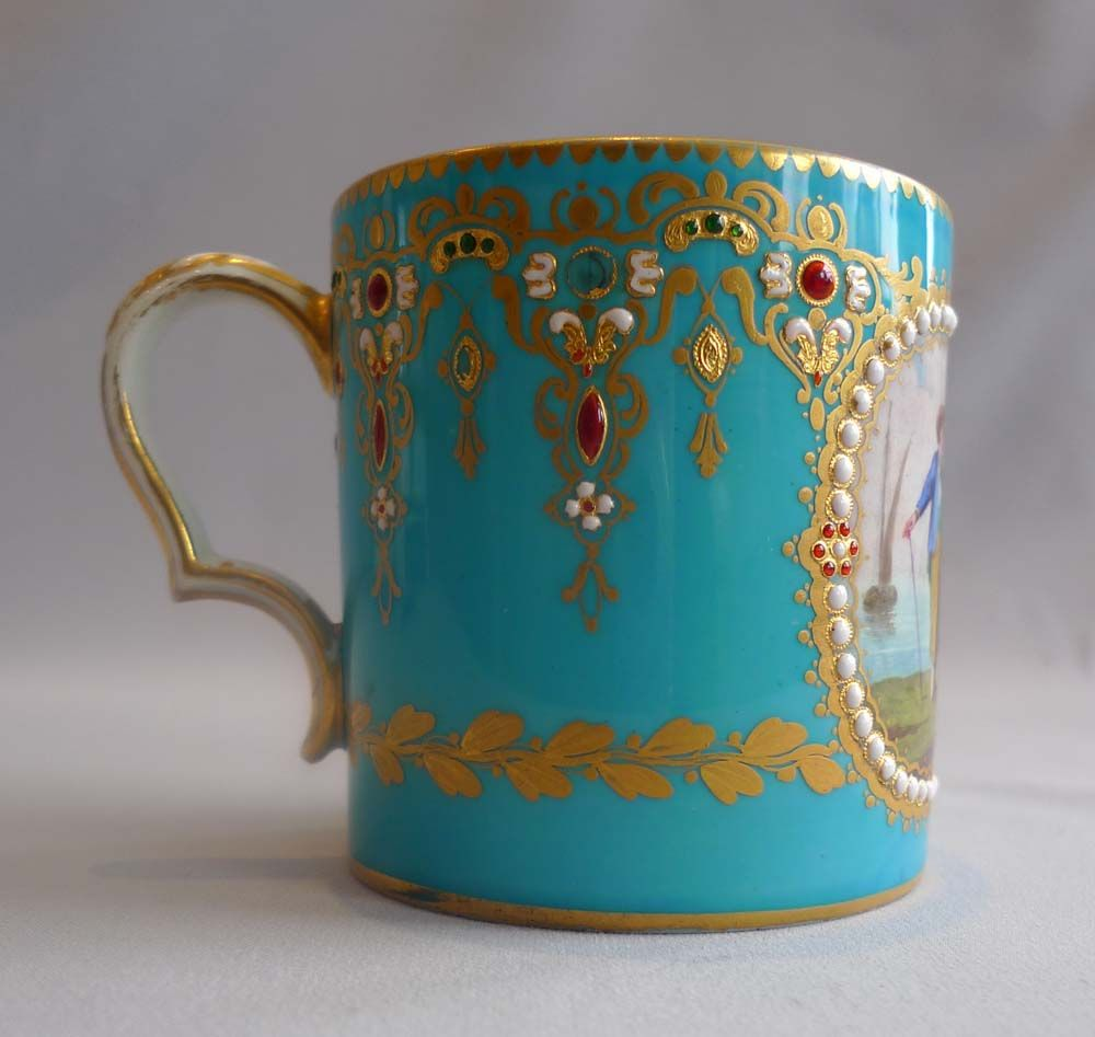 Sevres Paris porcelain jewelled and in bleu celeste cabinet cup and saucer, 18th…