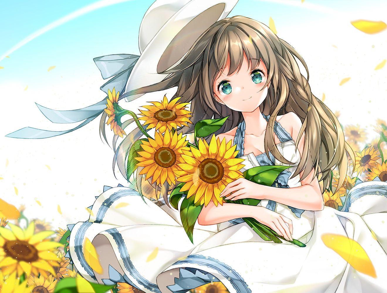 Красивые картинки из аниме с цветами