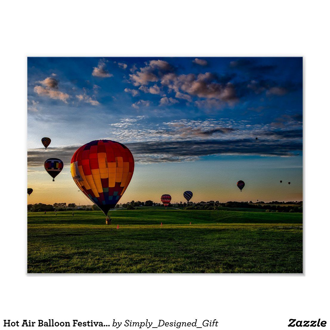 Hot Air Balloon Festival in a Beautiful Cloudy Sky Poster