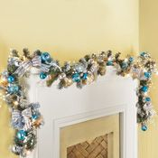 """72"""" Silver and Blue Lighted Christmas Garland; $22.99"""