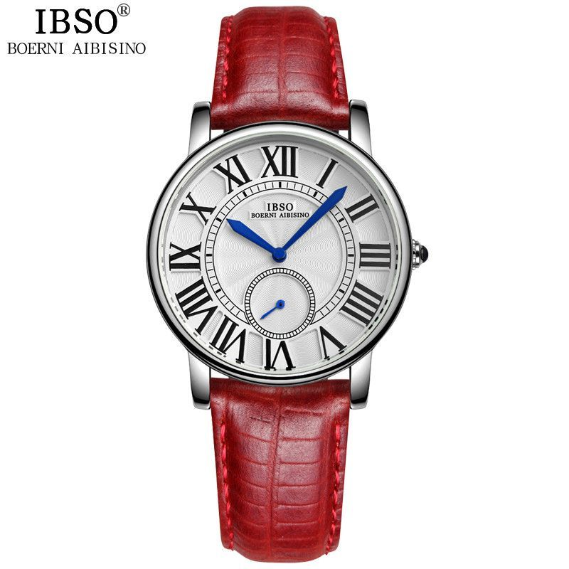 IBSO Business Seconds Display Clock Women Fashion Quartz Watches Woman  Dress Genuine Leather Strap Relojes Mujer Marca De Lujo 40fda7592d62