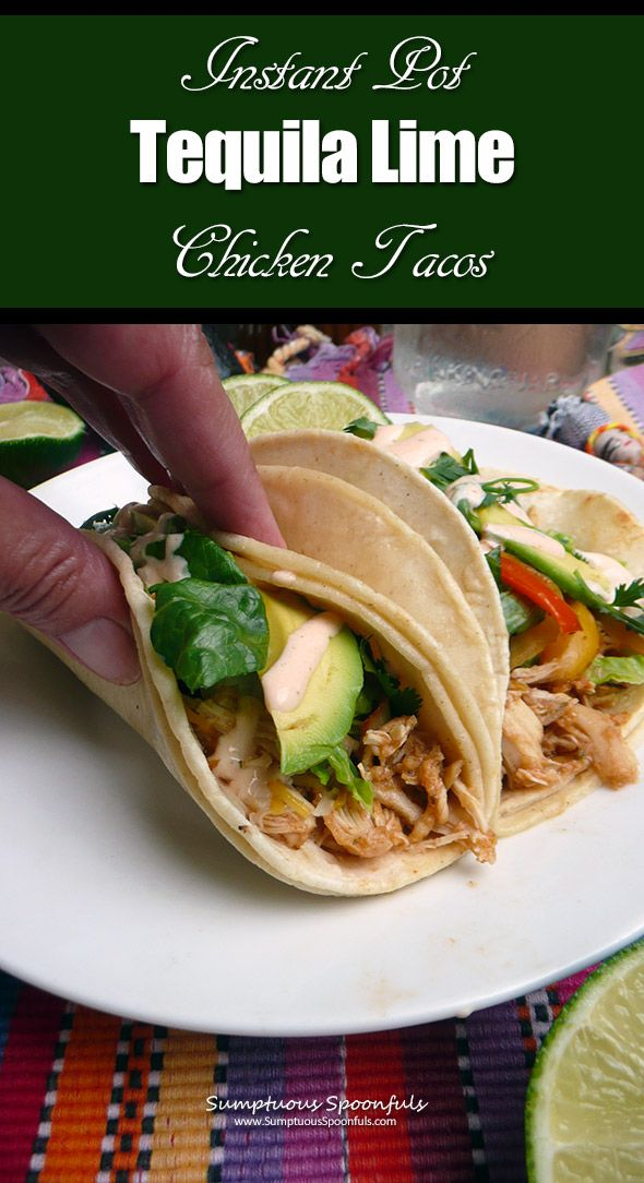 Instant Pot Tequila Lime Chicken Tacos ~ from frozen chicken to perfectly seasoned, shredded chicken taco meat. Ah-mazing! Thanks to the Instant Pot. #shreddedchickentacos