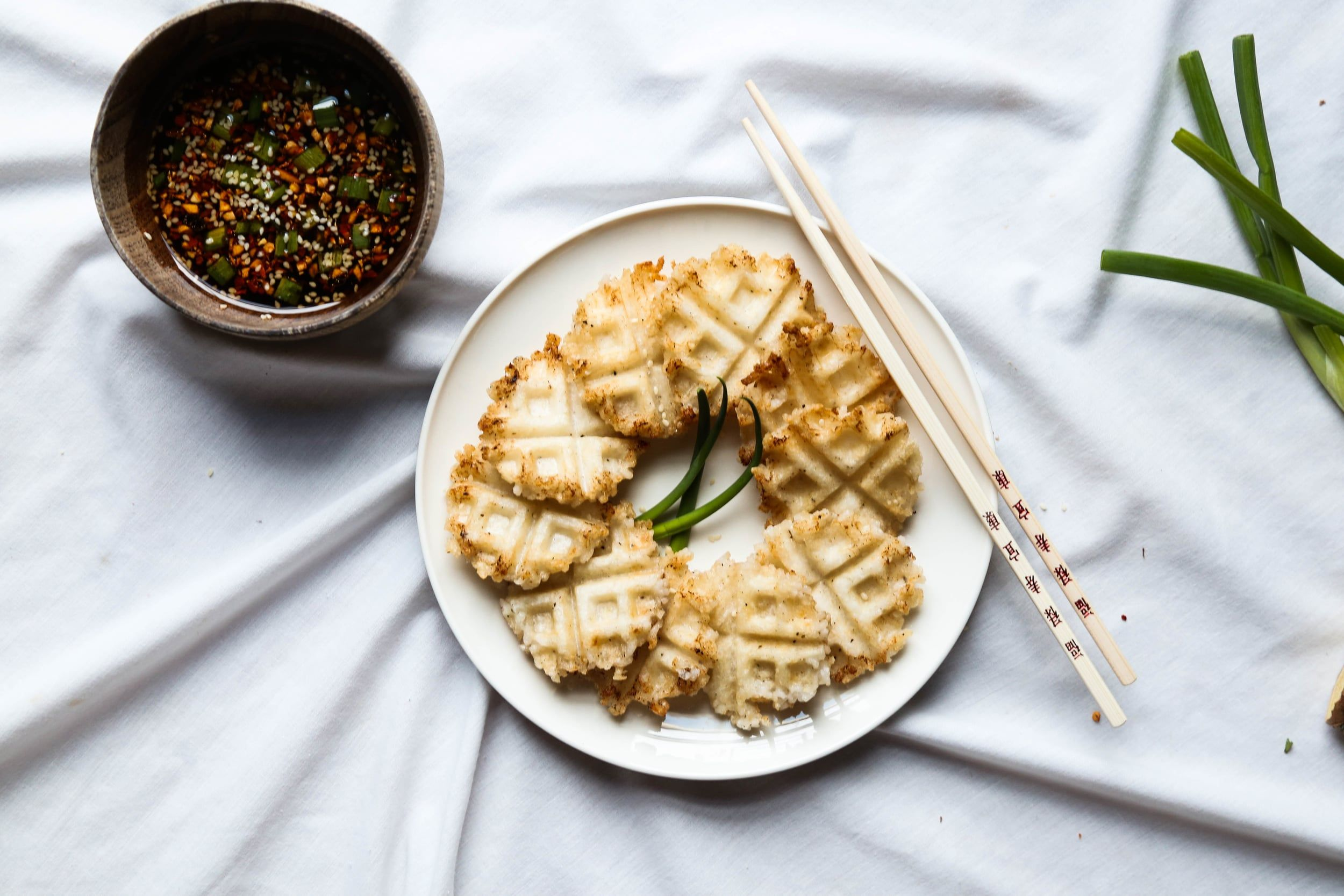 Sticky Rice Waffle Bites + Sesame Ginger Dipping Sauce ...