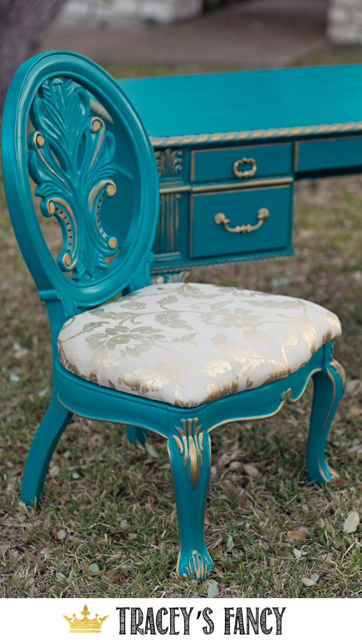 Teal And Gold Painted Desk By Furniture Futuristic Furniture