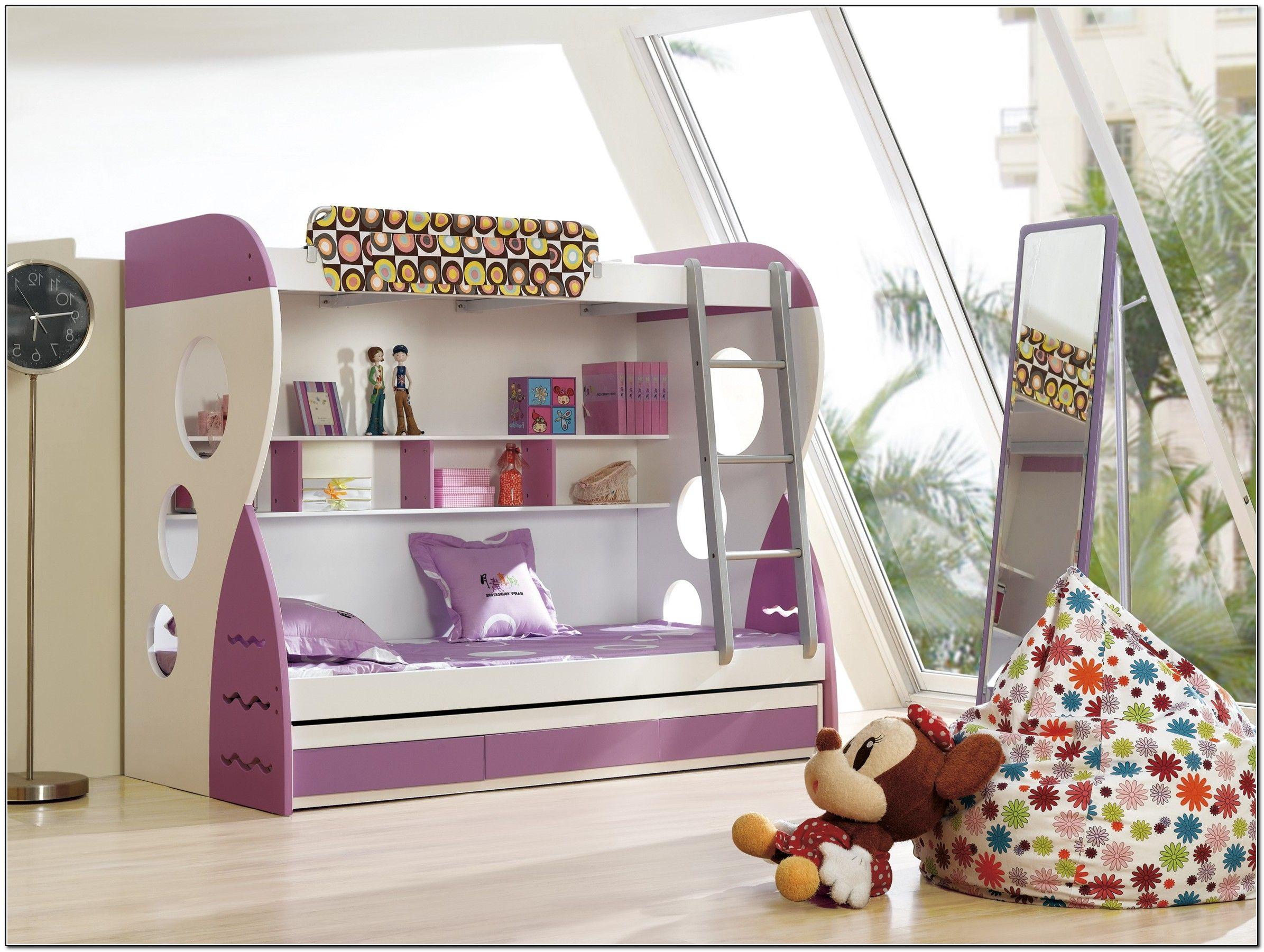 Enchanting girl bedroom design with cozy loft beds for teens sweet purple loft beds for