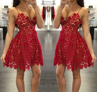 short lace red prom dresses