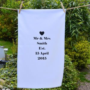 Personalised 'Mr And Mrs' Tea Towel - kitchen accessories