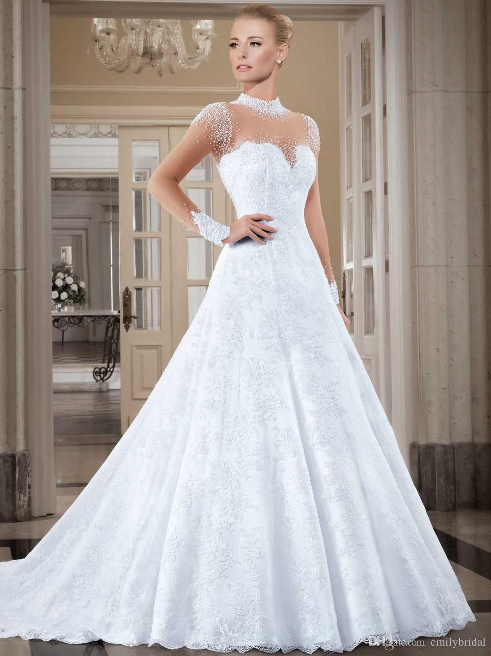 latest vintage wedding dresses high neck long sleeves beaded