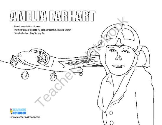 Amelia Earhart Color Activity From Rocket Powered Learning On