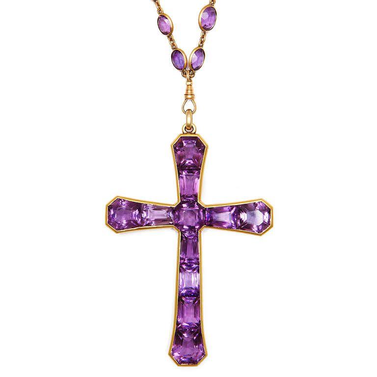 Dark Purple Cross Pendant Necklace