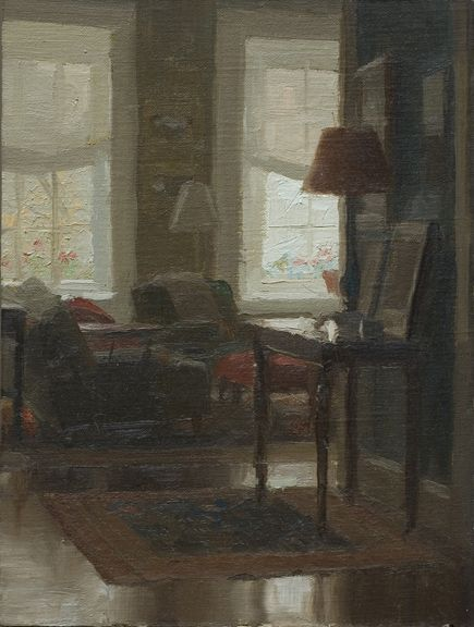 Jacob Collins, Library Afternoon, Oil on Panel, 8 x 6 inches, 2009 http://www.johnpence.com/visuals/painters/collins/images/library2.jpg
