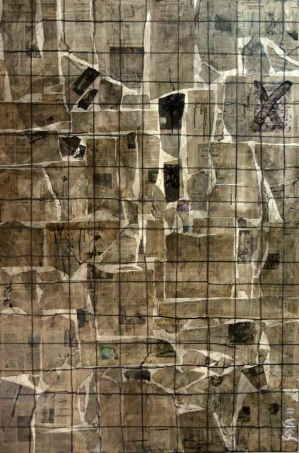 sophie costa breaking news tableau contemporain abstrait r alis partir de coupures de. Black Bedroom Furniture Sets. Home Design Ideas
