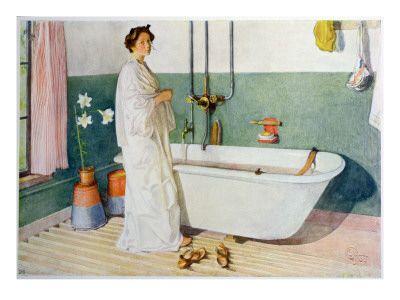 Bathroom Scene - Lisbeth, Pub. in 'Lasst Licht Hinin' Giclée-tryk