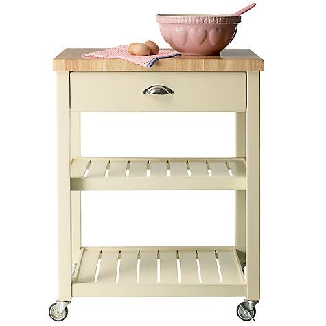 John Lewis Cotswold Butcher's Trolley, Cream Entry level painted Butcher block kitchen ...