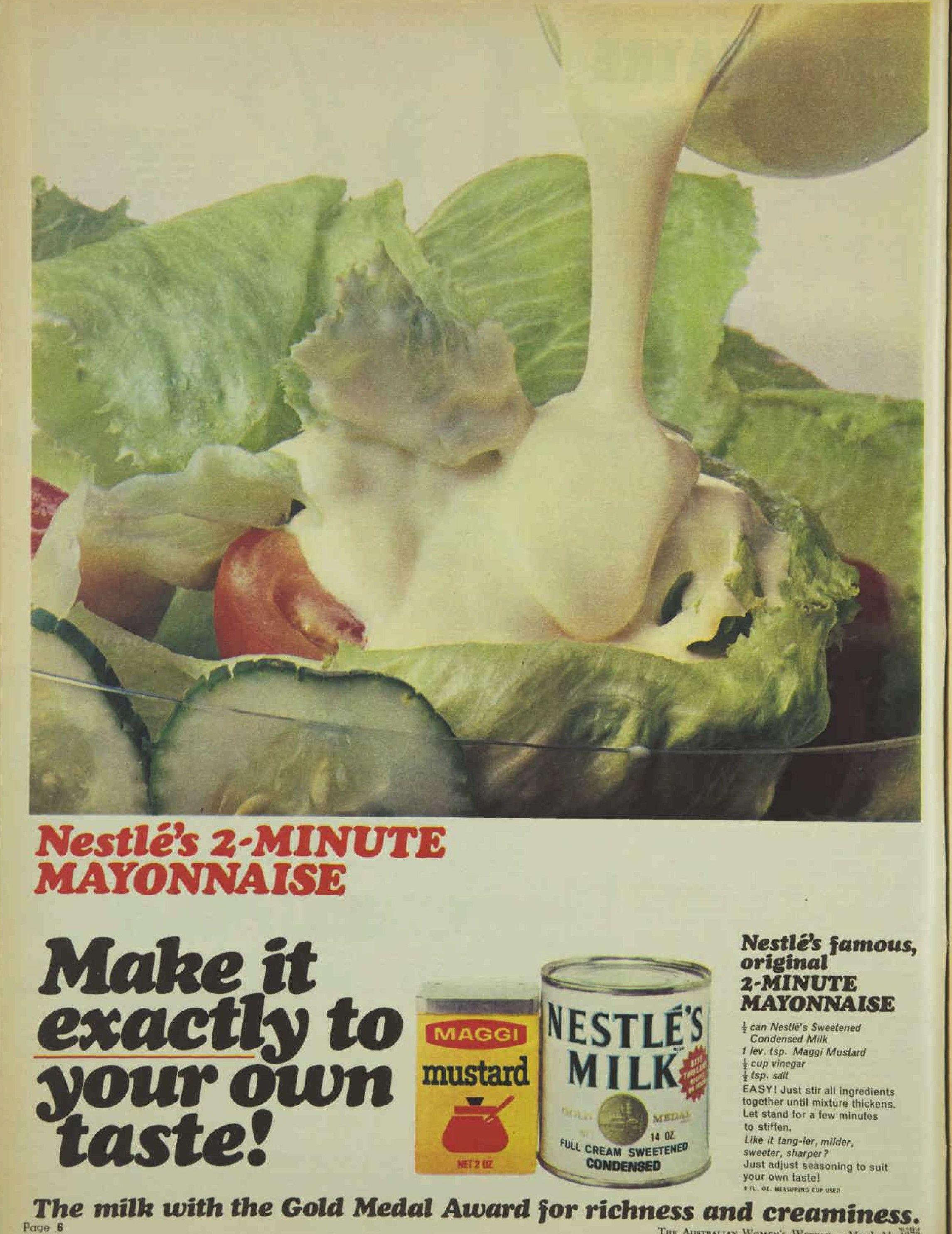 Nestle Evaporated Milk Maggi Mustard Mayonnaise Advertisement Ad March 1970 Vintage Retro Mayonnaise Recipe Mayonnaise Maggi