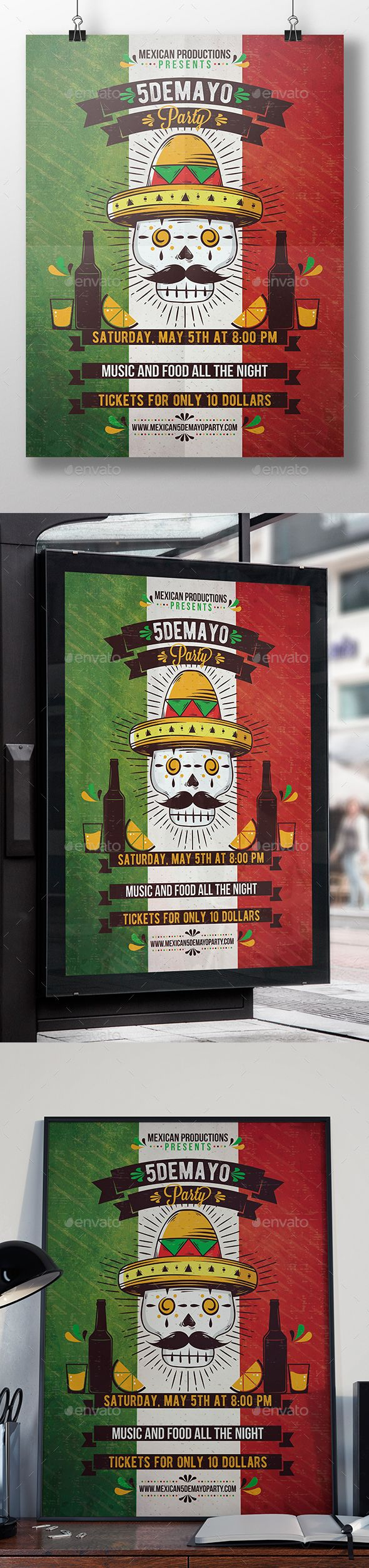 Mexican Calaca Flyer Template — Photoshop PSD #carnival #Cinco de Mayo • Available here → https://graphicriver.net/item/mexican-calaca-flyer-template/19858208?ref=pxcr