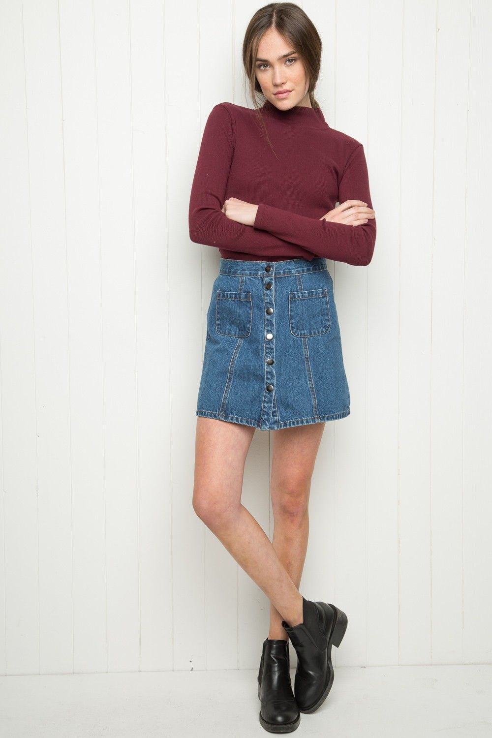 f13da2d6a3 Brandy ♥ Melville | Daniela Turtleneck Top - Just In Cute Skirt Outfits,  Basic Outfits