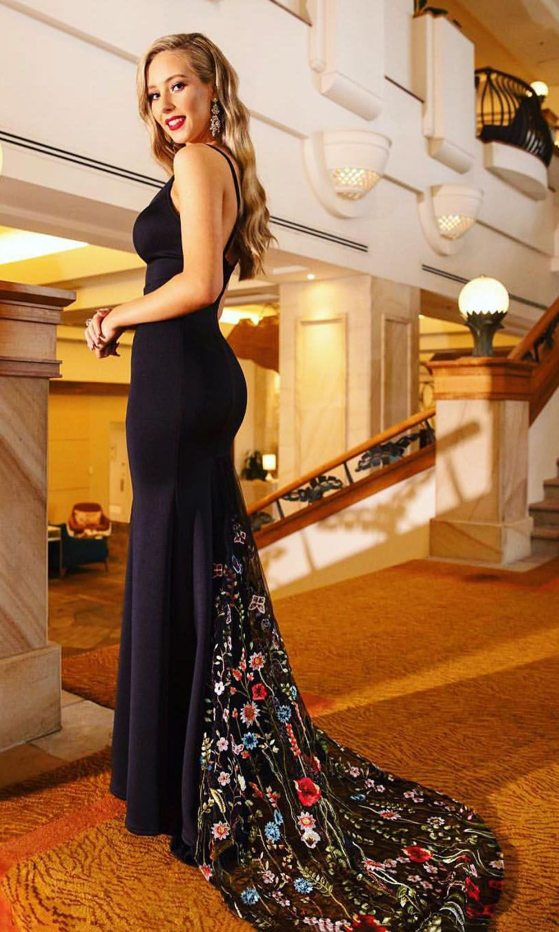 Mermaid Black Evening Dress With Floral Train From Sugerdress Backless Prom Dresses Black Evening Dresses Floral Prom Dresses [ 1349 x 810 Pixel ]