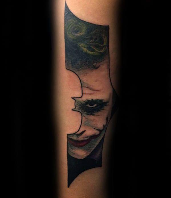 Joker batman symbol mens forearm tattoos batman for Joker batman tattoo
