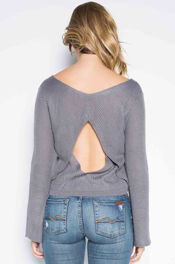 "Baby Got Open Back Sweater - everyone will say, ""Baby got back!"" when you wear this super soft, lightweight sweater featuring a cutout back and bell sleeves from Rebellia"