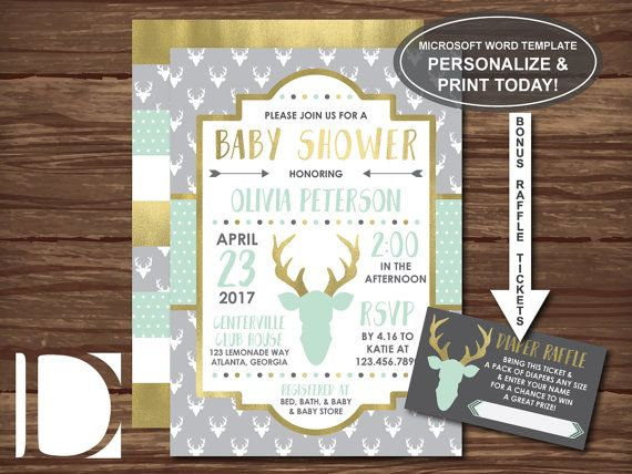 Woodland Deer Baby Shower Invitation, Woodland Deer Head, Antlers - how to make a baby shower invitation on microsoft word