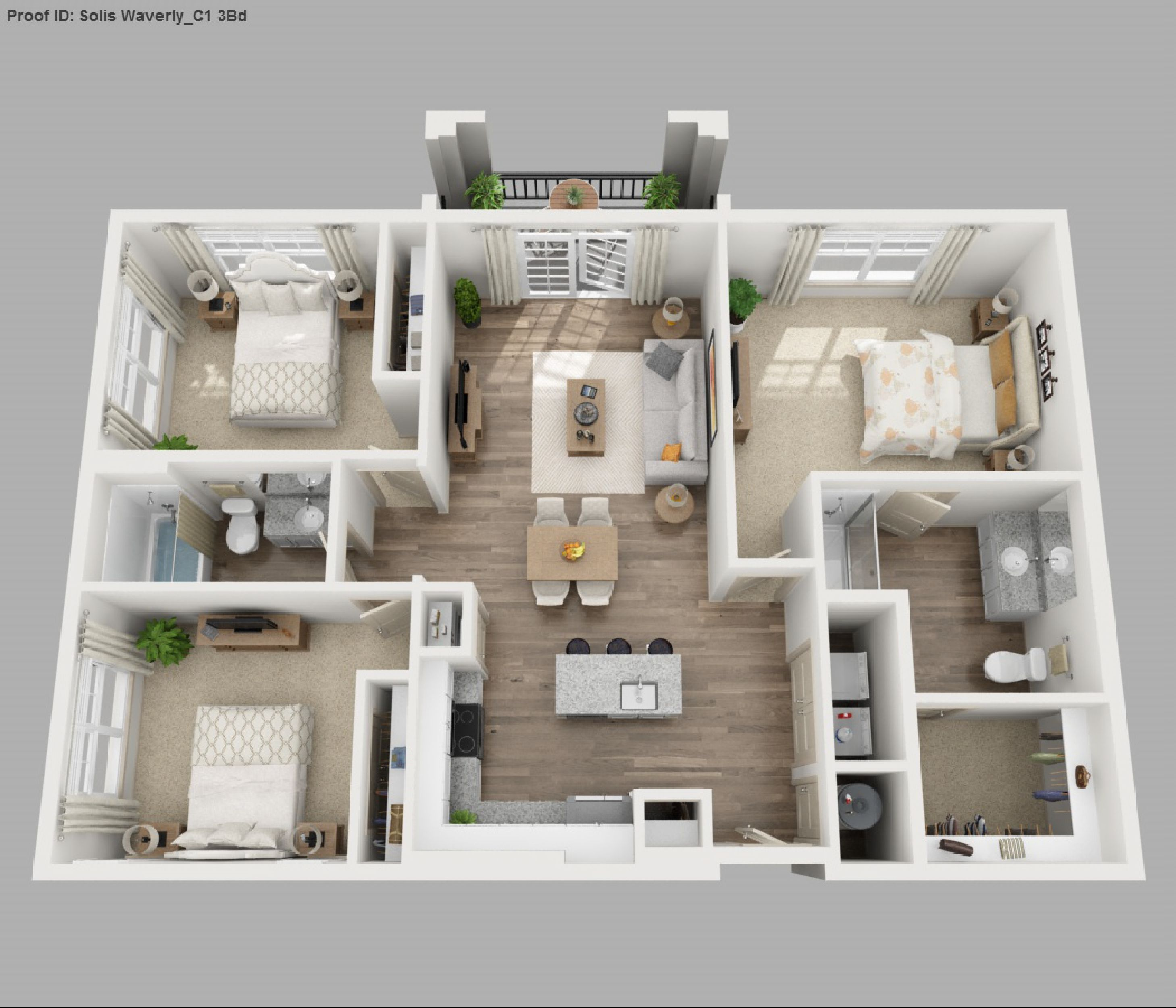 3 To 4 Bedroom Apartments Near Me: Three Bedroom Apartment 3d Floor Plans