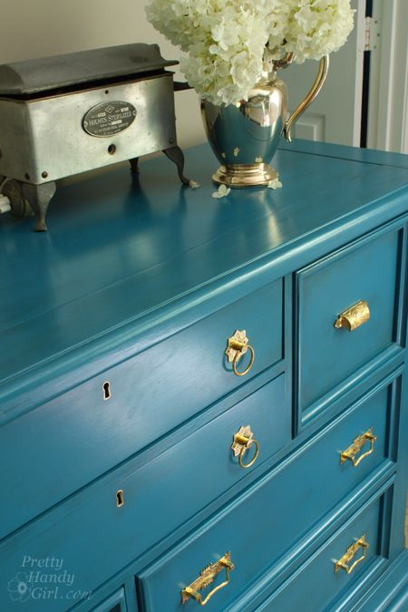 Here arethe details on how to refinish a knotty pine dresser and give it a complete makeover!   Pretty Handy Girl