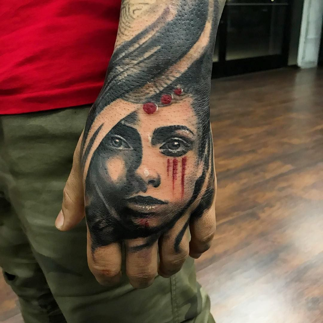 The Portrait Tattooing Art By Robertluckeyart Did An Amazing Job On My Hand Hand Tattoos Are Life Changing Thank U Rob For Doin Hand Tattoos Portrait Tattoos