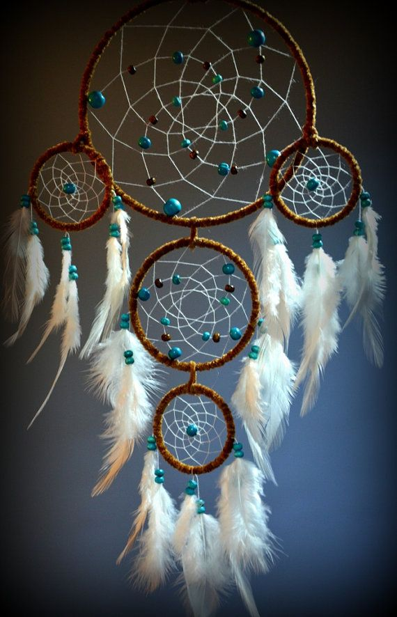 Large Dream Catcher For Sale Large Brown Dream Catcher With Turquoise and Howlite Beads Yellow 11