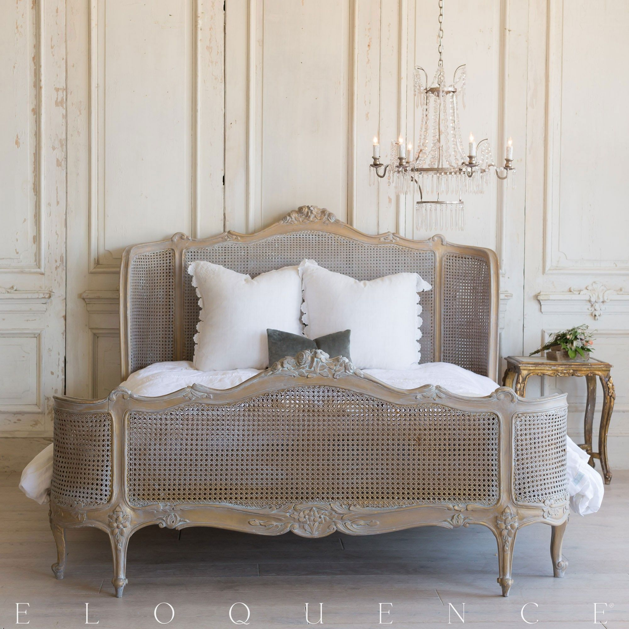 Cute vintage cane bed frame in Matte Bronze and patina paint ...