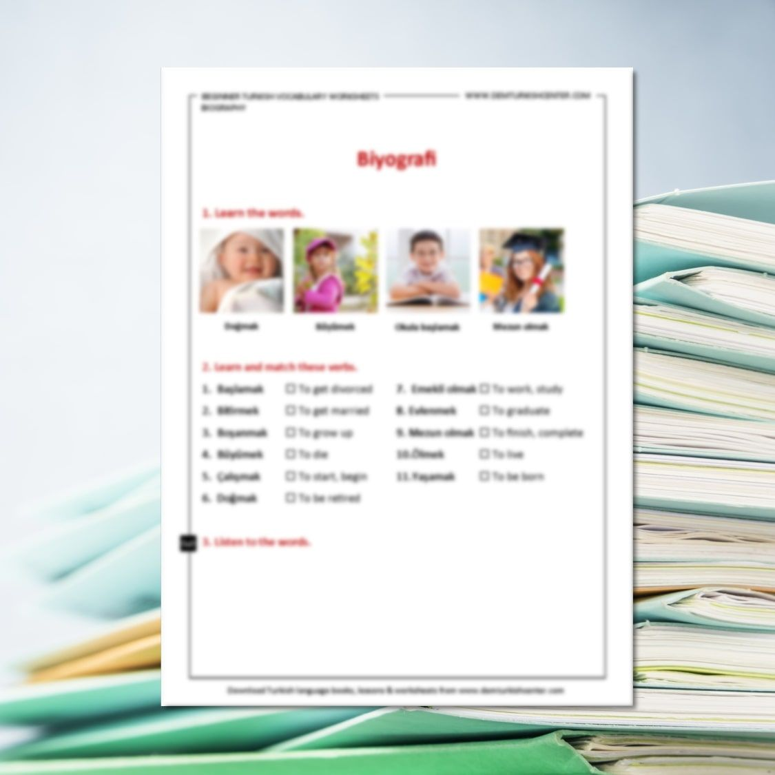Turkish Vocabulary Worksheets Biography Mp3