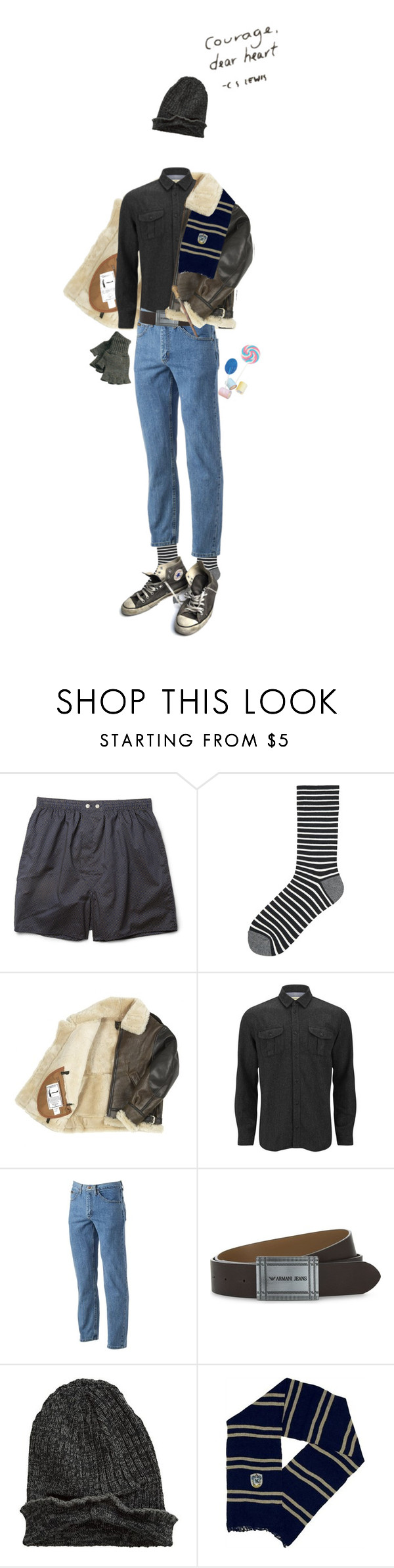"""i don't need courage i need heart"" by beowulf ❤ liked on Polyvore featuring Derek Rose, Uniqlo, SUIT, Lee, Armani Jeans, Element, Converse, Barbour, men's fashion and menswear"