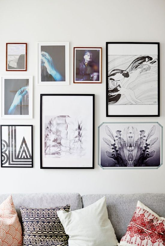 Wall Art Collage art-filled swedish living room #home #homedecor #interiordesign