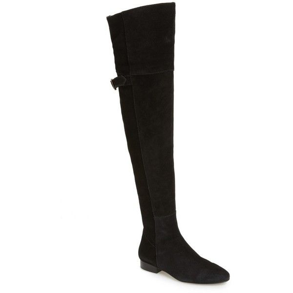 Women's Matisse X Amuse Society Ashley Over The Knee Boot ($275) ❤ liked on Polyvore featuring shoes, boots, black suede, suede thigh-high boots, suede leather boots, black over the knee boots, over the knee suede boots and matisse boots