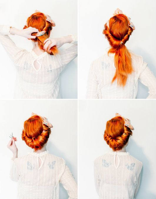 Beauty Retro Rolled Updo With A Vintage Scarf A Clothes Horse Vintage Hairstyles Tutorial Easy Vintage Hairstyles Retro Updo
