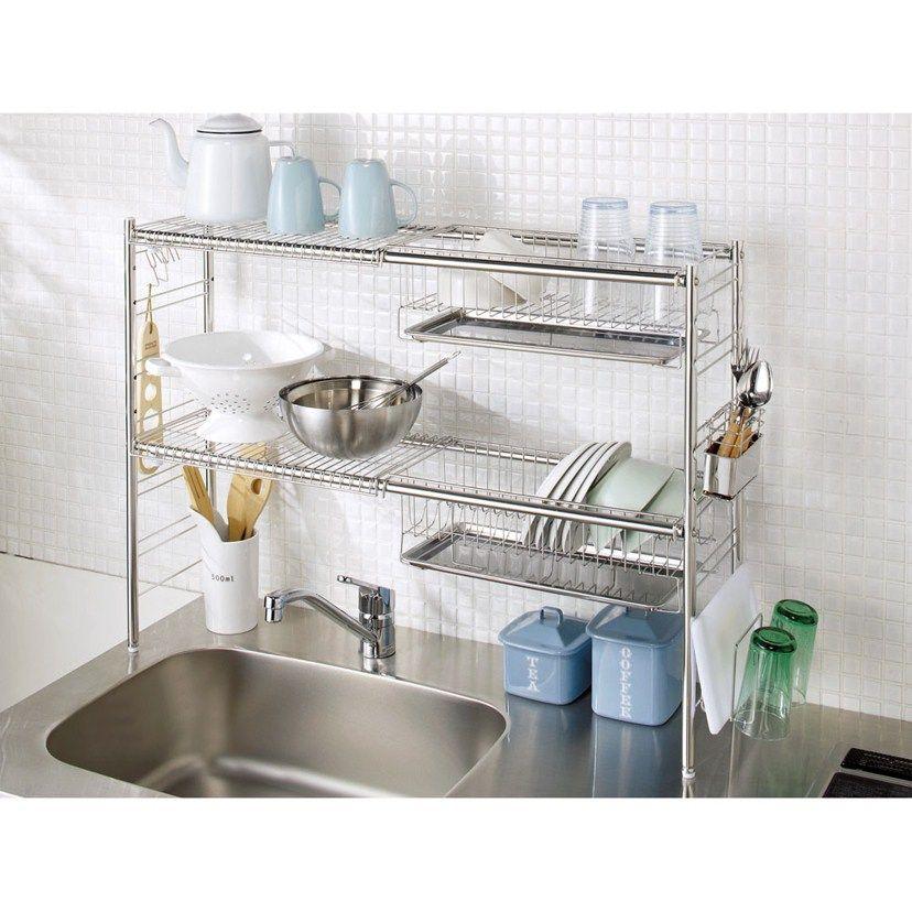 シンクをまたげるステンレス製伸縮水切りかごラック ステンレス棚タイプ2段 通販 ディノス Hogar Muebles Cocinas