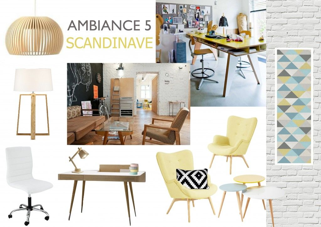 planche ambiance bureau style scandinave briquette blanche papier peint bois clair. Black Bedroom Furniture Sets. Home Design Ideas