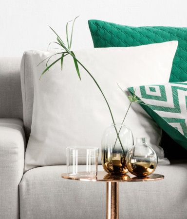 Glass vase with lower section decorated with metallic paint. | H&M Home