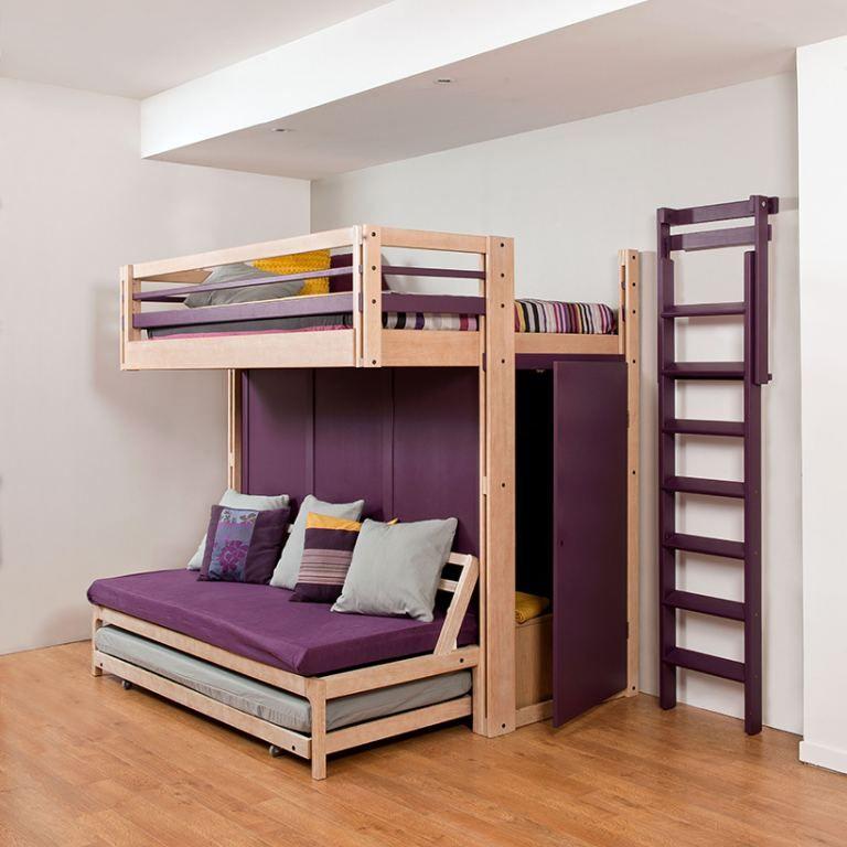 Mezzanine Attic Lit Gigogne Banquette Le Jour Lits Simples Ou Lit Double La Nuit Cool Loft Beds Dorm Room Bedding Bunk Bed Designs