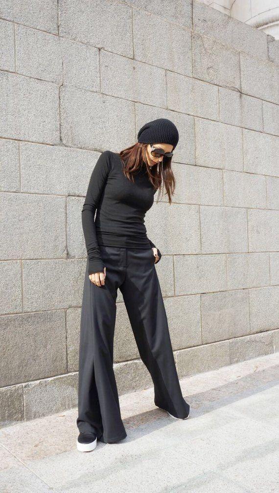 Photo of NOVITÀ Pantaloni larghi neri / Pantaloni larghi / Pantaloni stravaganti Tasche laterali / Bottone cintura e vita con cerniera / Realizzato a mano da Aakasha A05555